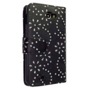 Etui noir strass diamants pour Samsung Galaxy Note 2