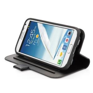 Housse Support Folder Capdase cuir noir pour Samsung Galaxy Note 2