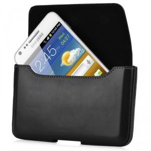 Housse luxe clip ceinture cuir noir Capdase pour Samsung Galaxy Note/Note 2