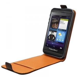 Etui rabat en cuir noir pour Blackberry Z10